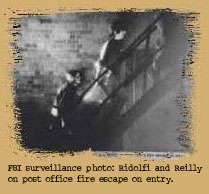 camden28: fbi surveillance photo - ridolfi and reilly on post office fire escape on entry